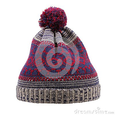 Free Knitted Wool Winter Hat With Pom Pom Isolated On White Royalty Free Stock Image - 36581636
