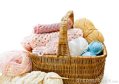 Knitting basket with yarns