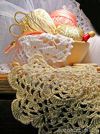 Knitting hobby needlework tools and lace