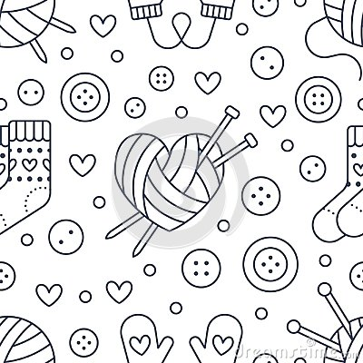 Free Knitting, Sewing Seamless Pattern. Cute Vector Flat Line Illustration Of Hand Made Equipment Knit Needle, Bottons, Wool Stock Photography - 105448372