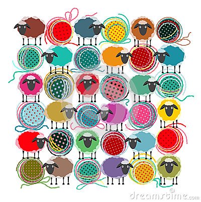 Free Knitting Yarn Balls And Sheep Stock Photography - 26892312