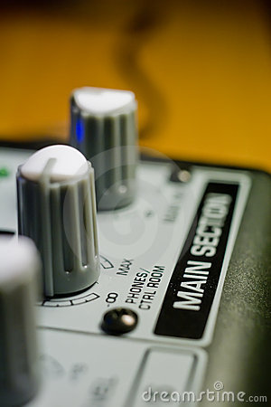 Knobs on sound mixer panel
