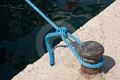 Knot on rope in dock