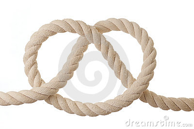 Knot on a rope isolated on white