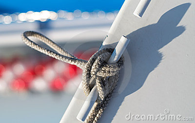 Knot tied on sailing ship
