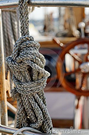 Knotted rope on yacht