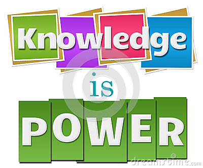 Knowledge Is Power Colorful Squares Stripes Stock ...