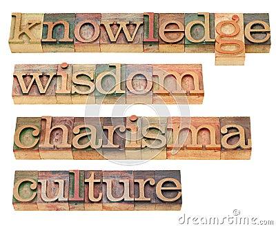 Knowledge, wisdom, charisma and culture