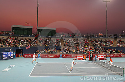 Knowles/Roddick vs Lee/Yang - China Open 2009 Editorial Photography