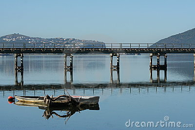 Knysna lagoon with rail bridge in front