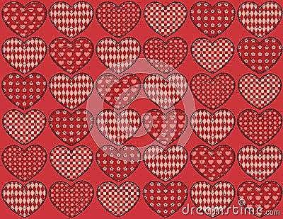 Kołdrowych serc bezszwowy wzór.