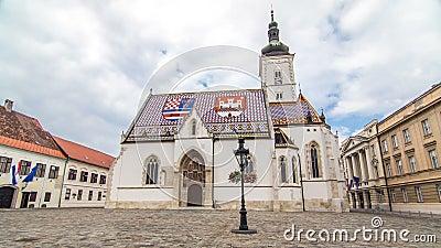 Kościół St Mark timelapse hyperlapse i parlament buduje Zagreb, Chorwacja zbiory