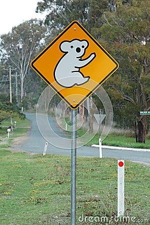 Koala ahead sign