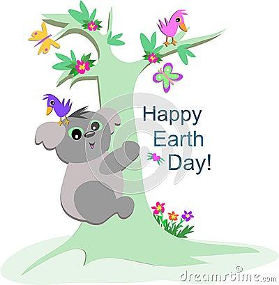 Koala Bear Celebrates Earth Day
