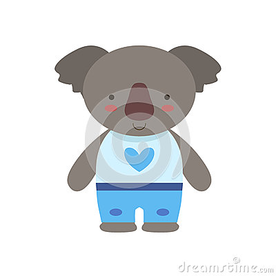 Free Koala In White Top With Heart Print And Blue Pants Cute Toy Baby Animal Dressed As Little Boy Royalty Free Stock Image - 80628676
