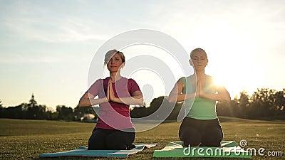 Kobiet joga medytuje w lotos pozie wręcza koszt stały zbiory