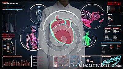 Kobieta doktorski wzruszający cyfrowy ekran, Żeńskiego ciała skanerowania naczynie krwionośne, limfatyczny, kierowy, krążeniowy s