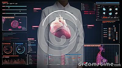 Kobieta doktorski wzruszający cyfrowy ekran, skanerowania serce sercowonaczyniowy ludzki system technologia medyczna