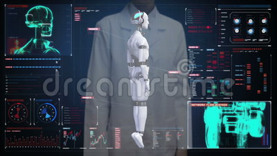Kobieta doktorski wzruszający cyfrowy ekran, skanerowanie przezroczystości robota cyborga ciało w cyfrowym interfejsie sztuczna i zbiory wideo