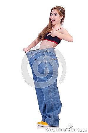 Kobieta w dieting pojęciu