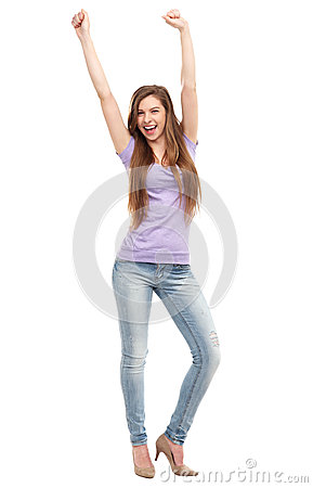 Kobieta z rękami podnosić