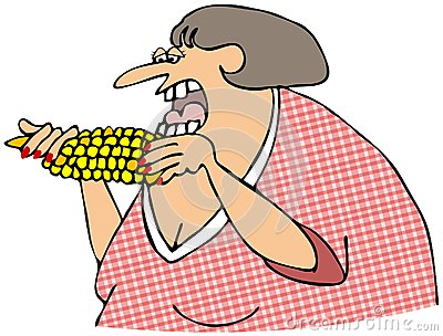 Kobiety łasowania kukurudza na cob
