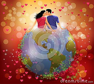 Kobiety i mężczyzna całowanie na kuli ziemskiej