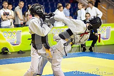 Kobudo competition between boys Editorial Photo