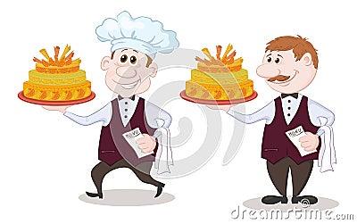 Koch und kellner mit feiertagskuchen stockbilder bild for Koch und kellner