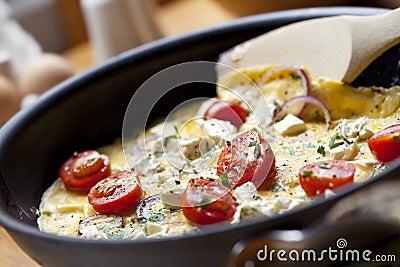 Kochen des Omeletts