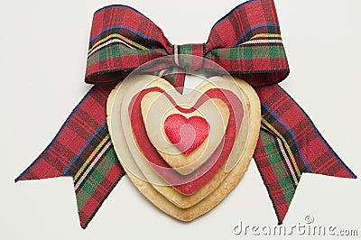 Koekjes en geruite Schotse wollen stofboog
