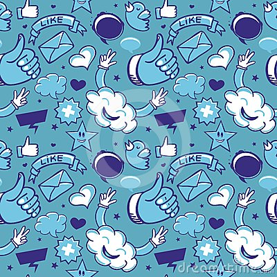 Koel naadloos patroon met sociale media pictogrammen