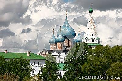 Koepels van de Kathedraal van de Geboorte van Christus. Suzdal, Rusland.