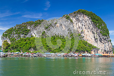Koh Panyee fisherman village on the water of Phang Nga Bay