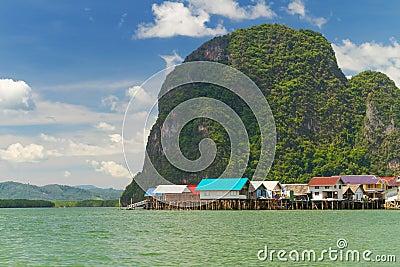 Koh Panyee settlement built on stilts of Phang Nga Bay