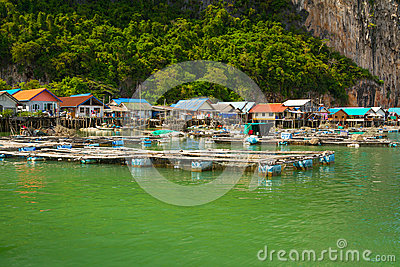 Koh Panyee settlement built on stilts of Phang Nga Bay