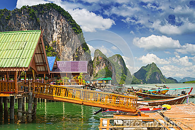 Koh Panyee settlement built on stilts in Thailand