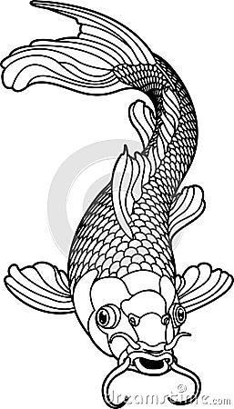 Free Koi Carp Black And White Fish Royalty Free Stock Photos - 8393418