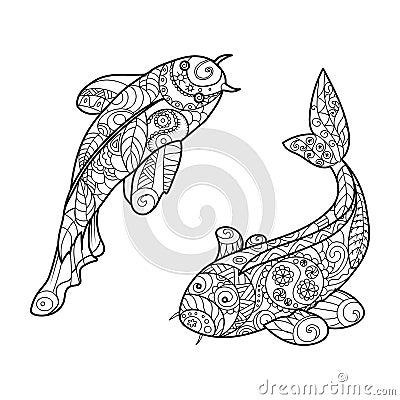 Koi Carp Fish Coloring Book For Adults Vector Cartoon