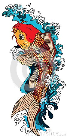 Free Koi Carp Goldfish Swimming Upstream Stock Image - 104390101