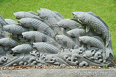 Koi Stone Carving