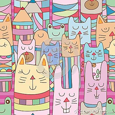 Free Kokeshi Animal Many Horizontal Place Seamless Pattern Stock Photography - 122216222