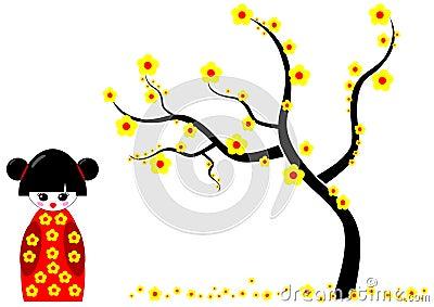 Kokeshi Doll with Yellow flowers tree