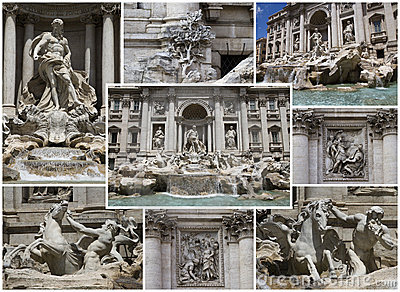 Kolażu fontanny trevi