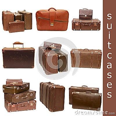 Kolażu rozsypiska stare walizki