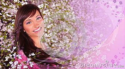 Kolażu wiosna kobieta