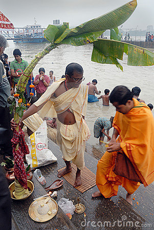 The Kolabau ritual at the river Ganga Editorial Stock Image