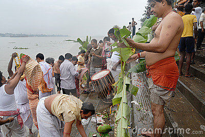 The Kolabau ritual at the river Ganga Editorial Photography