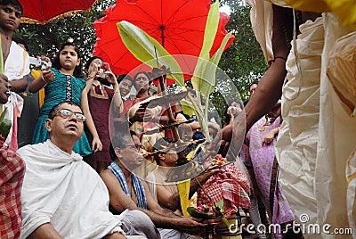 The Kolabau ritual at the river Ganga Editorial Stock Image