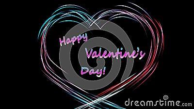 Kolorowa animacja serca wykonana z linii z napisem Happy Valentine's Day in the heart ilustracji